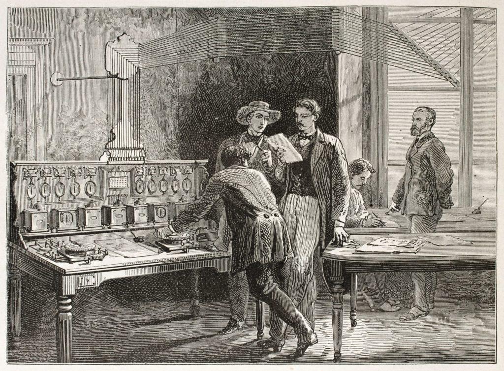 Escritório de telégrafo em ilustração antiga. Arte criada por Alphonse de Neuville, publicada em Le Tour du Monde, Paris, 1867.