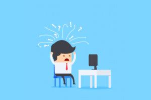 Ilustração de homem confuso com informação no computador